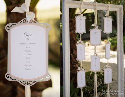 Cutout hanging wedding table plan