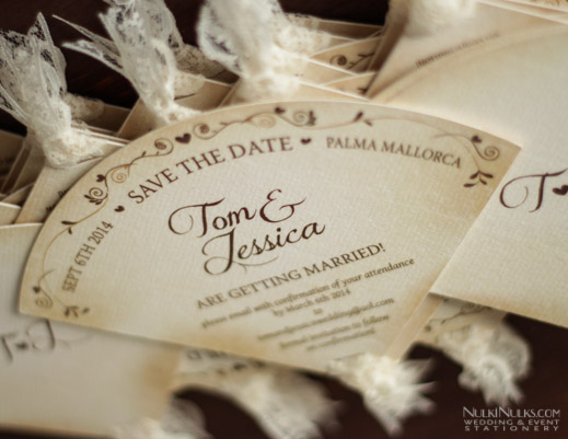 Fan-shaped Wedding Save the Date Invitation
