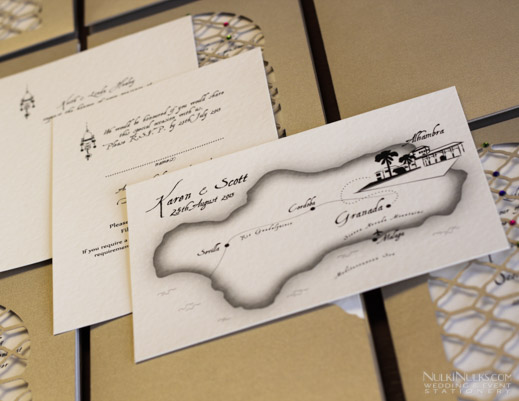 Moroccan-style Wedding Invitations with map