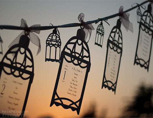Moroccan hanging lanterns as a wedding table plan