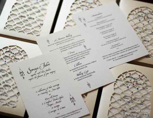 Wedding Invitation pocket in Moroccan theme