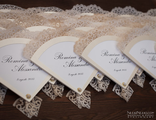 Wedding Invitations in the form of Fans with lace